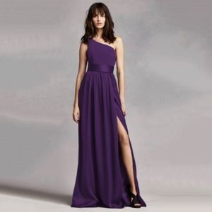 NWT Vera Wang Plum One Shoulder Bridesmaid Dress